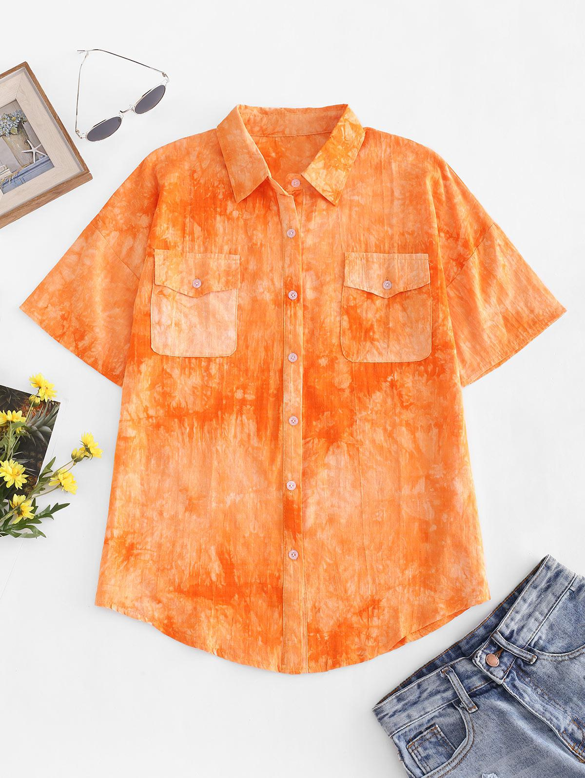 Tie Dye Flap Pocket Drop Shoulder Shirt