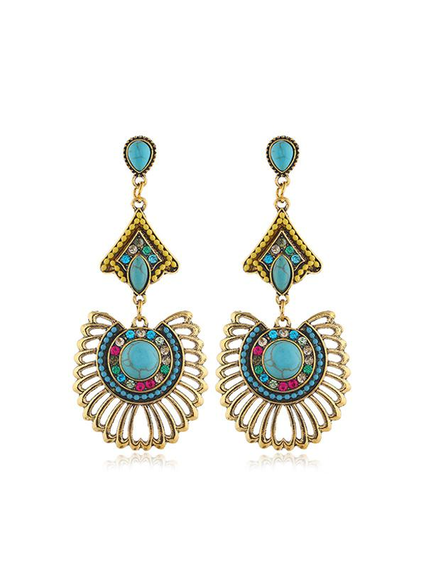 Hollow Out Turquoise Rhinestone Drop Earrings thumbnail