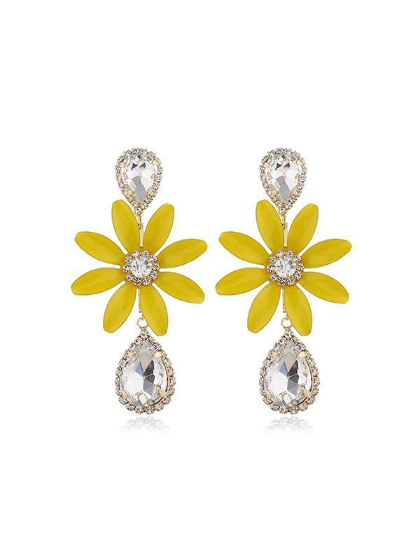 Rhinestone Teardrop Floral Long Drop Earrings thumbnail