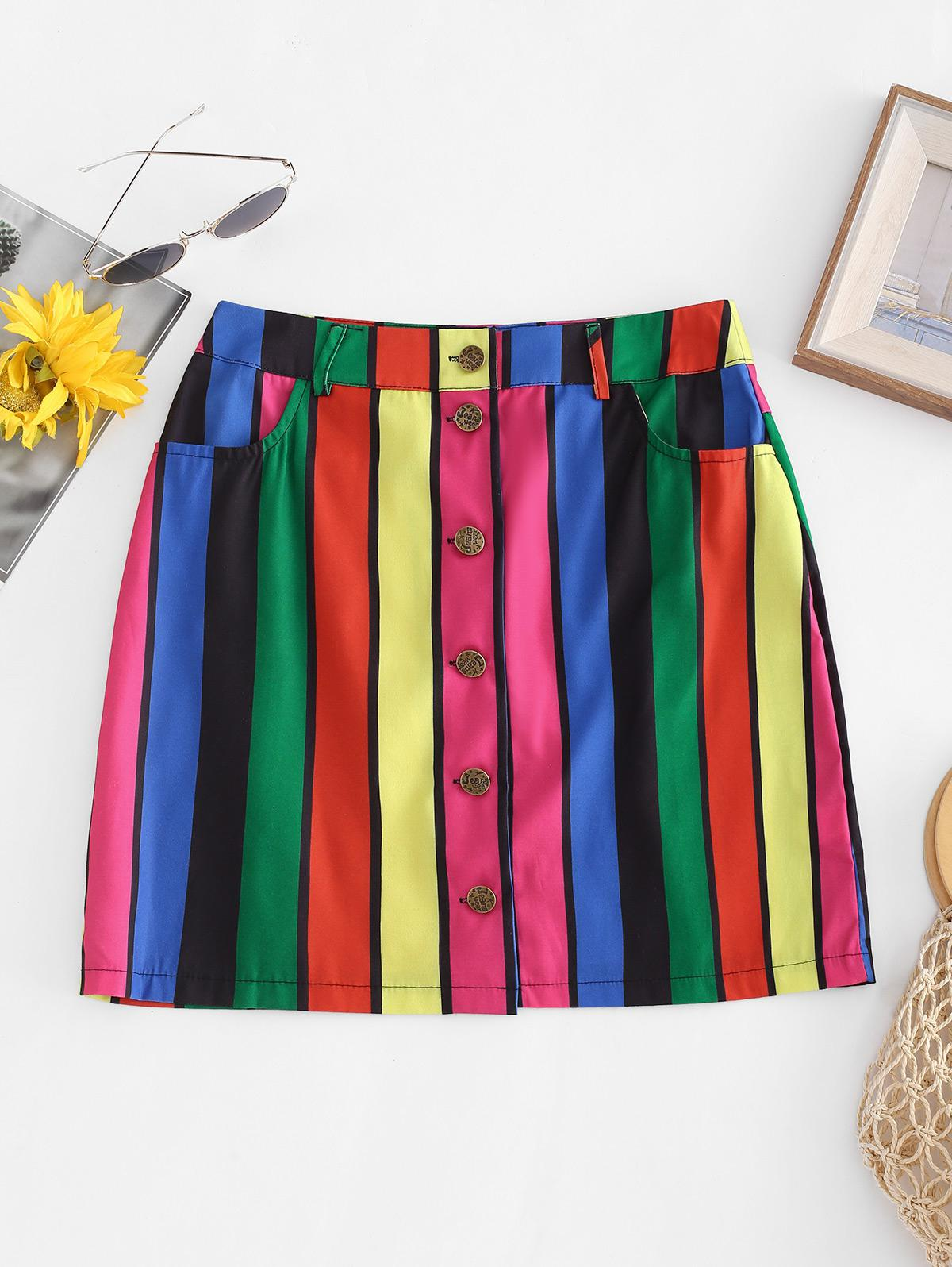 Rainbow Striped Button Fly Pocket Skirt