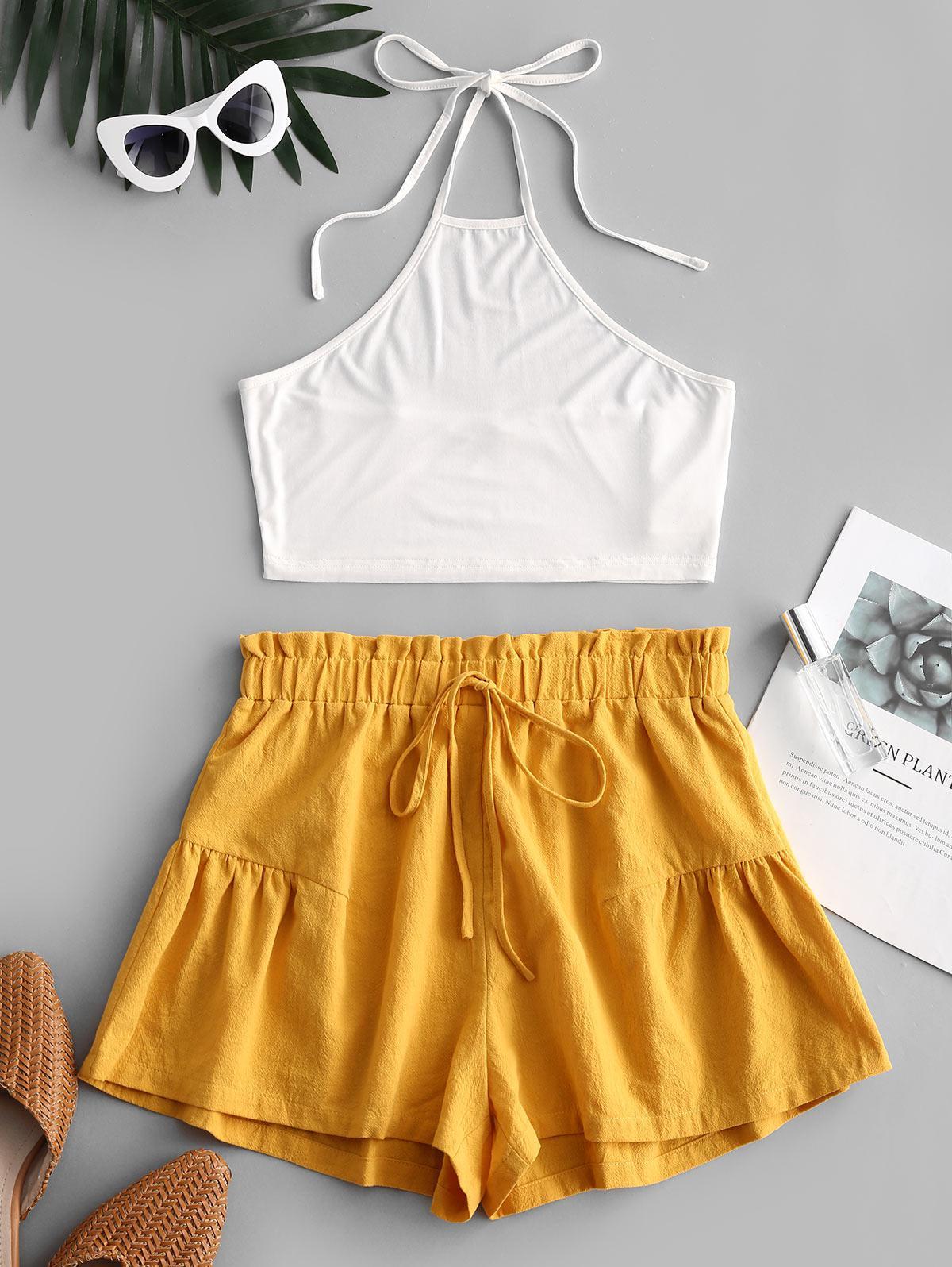 ZAFUL Halter Top and Paperbag Shorts Set