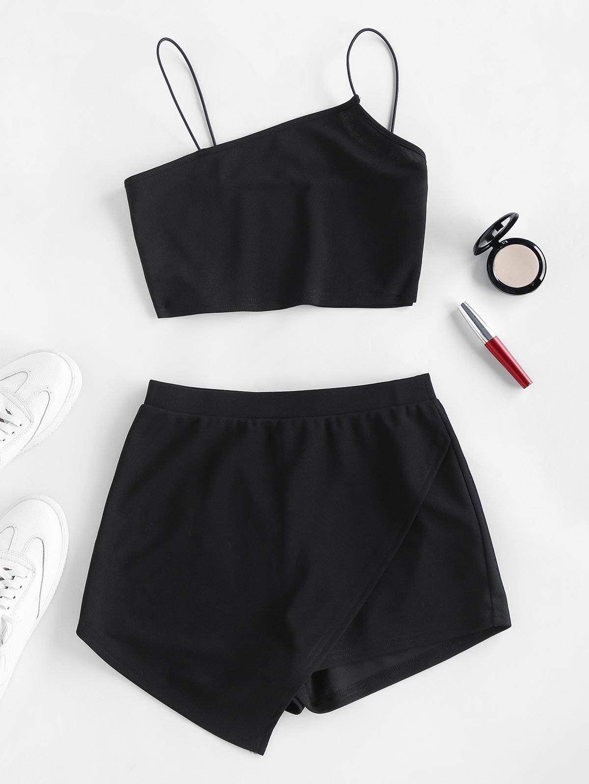 ZAFUL Bungee Strap Overlap Shorts Set