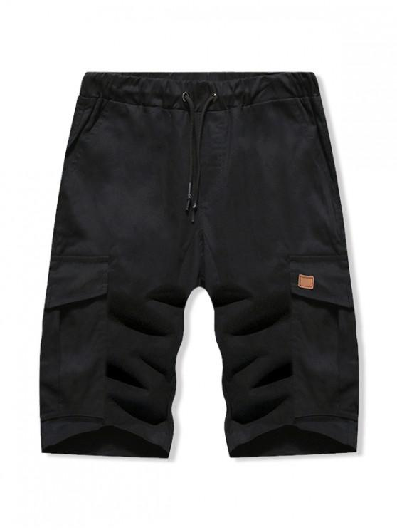 Solid Color Double Pocket Casual Shorts - أسود S