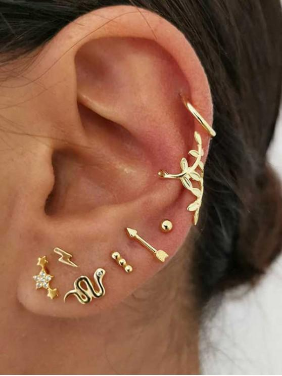 Snake Floral Stud And Ear Cuff Earring Set - ذهب