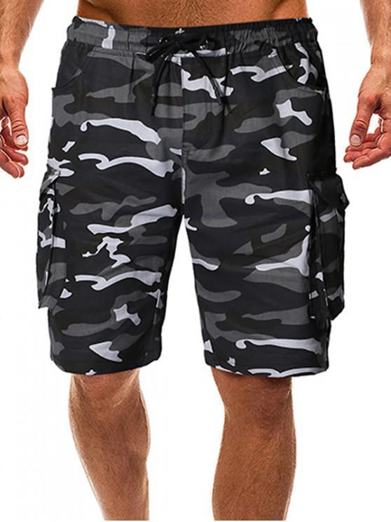Camo Drawstring Cargo Shorts with Pockets - ACU التمويه M