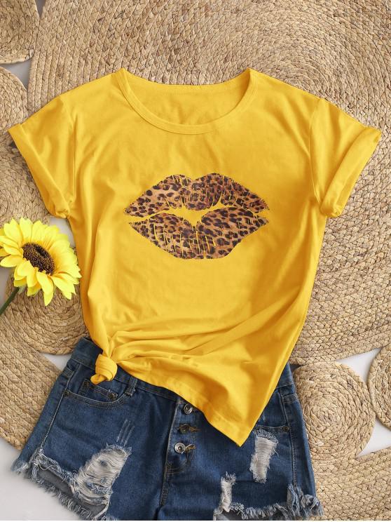 hot Basic Leopard Lip Graphic T Shirt - YELLOW XL