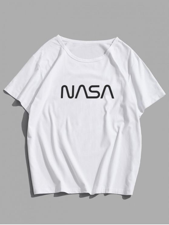 T-Shirt Casuale Grafica di Lettere con Maniche Corte - Bianca XS