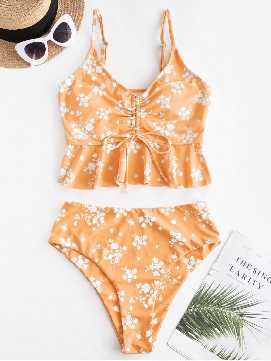 women ZAFUL Ditsy Print Cinched Peplum High Waisted Tankini Swimwear - LIGHT SALMON L