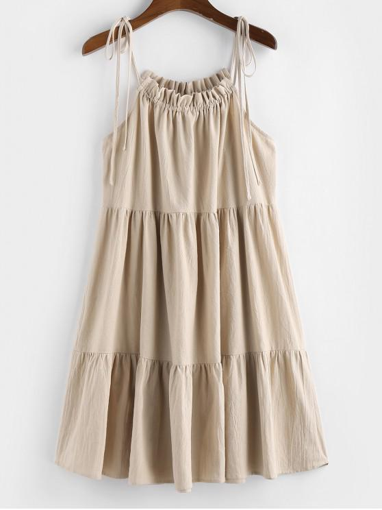 buy ZAFUL Tie Strap Frilled Tiered Cami Dress - CHAMPAGNE M