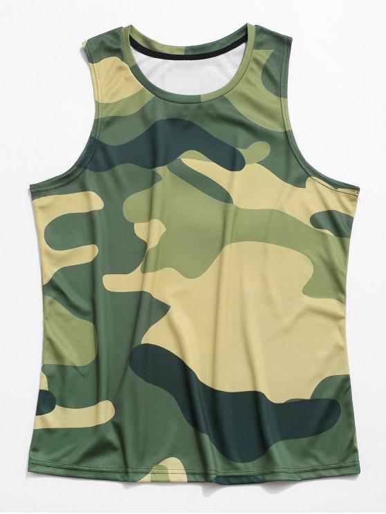 Camouflagedruck Lässiges Tank Top - Tarnanstrich Grün 3XL