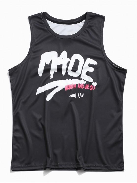 hot Casual Letter Printing Tank Top - BLACK 3XL
