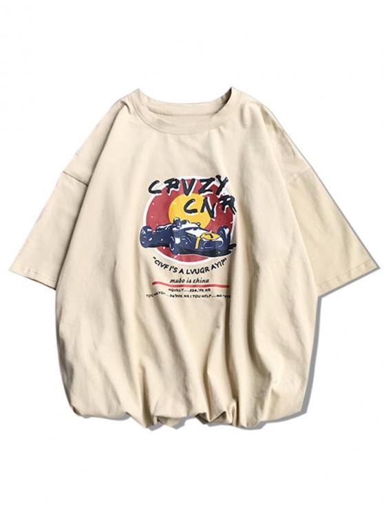 Car Racing grafic de bază T-shirt - Lumina Khaki 2XL