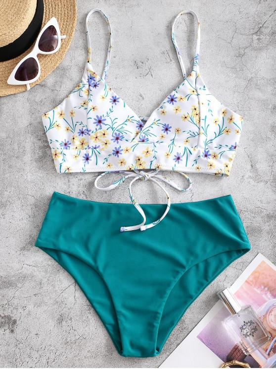 ZAFUL Ditsy Print Lace-up Tankini Swimwear - ازرق مخضر M