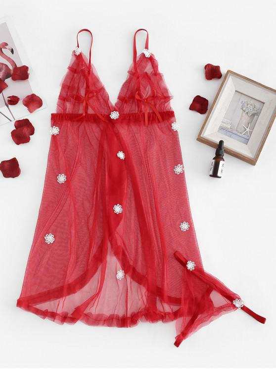 online Mesh Appliques See Thru Cami Babydoll Set - RED ONE SIZE