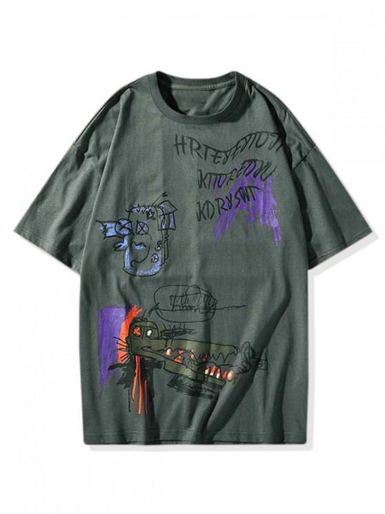 unique Graffiti Painting Graphic Short Sleeve T-shirt - DARK GRAY M