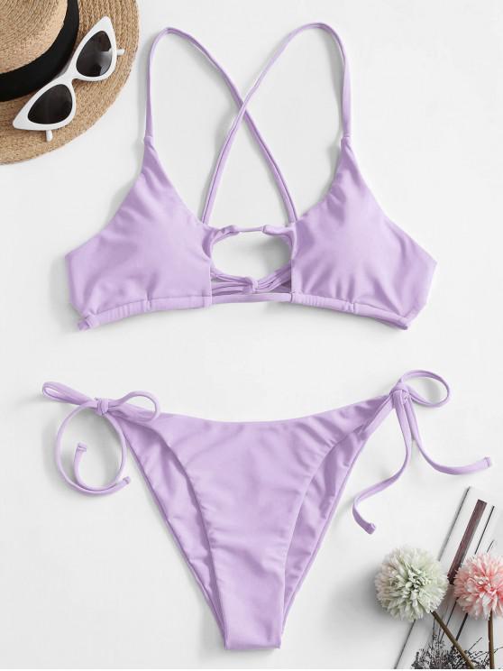 ZAFUL Bikini Recortado de Neón con Lazo - Color de malva S