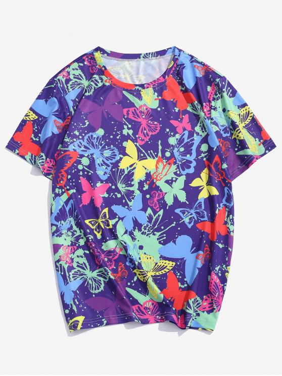 online Butterfly Printed Short Sleeves T-shirt - PURPLE IRIS S