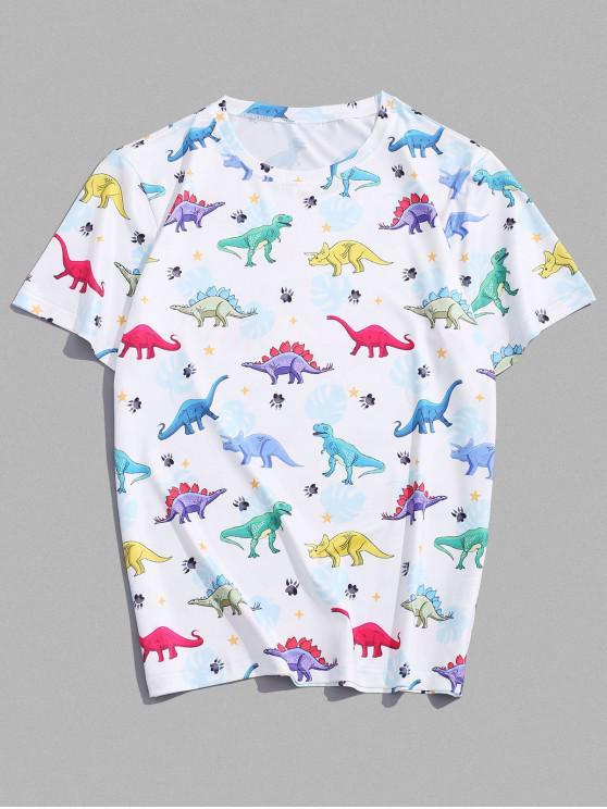 Camiseta de Cuello Redondo con Estampado de Dinosaurio con Mangas Cortas - Blanco 2XL
