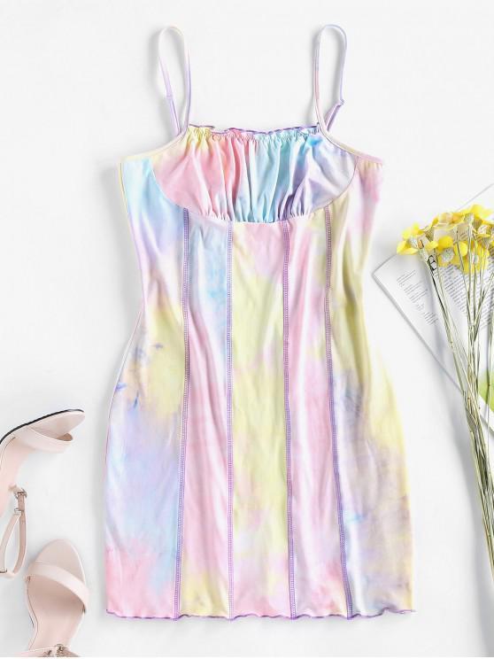 lady ZAFUL Topstitching Tie Dye Bodycon Dress - MULTI-A S