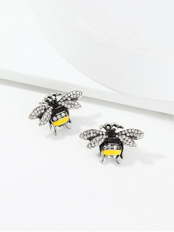 fancy Full Rhinestone Honey Bee Stud Earrings - SILVER