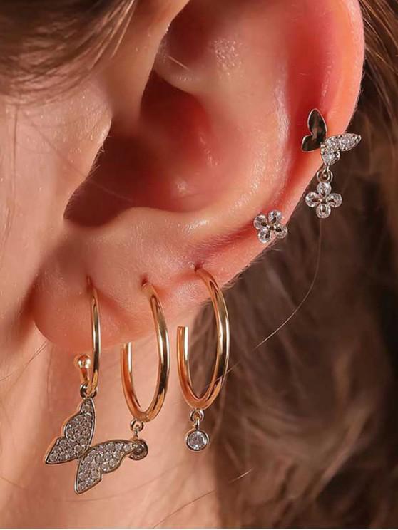 Conjunto de Pendientes y Tachuela de Mariposa de Diamantes de Imitación - Oro