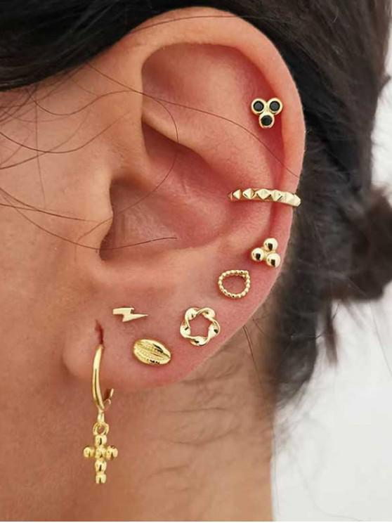 Cross Floral Stud And Ear Cuff Earring Set - ذهب