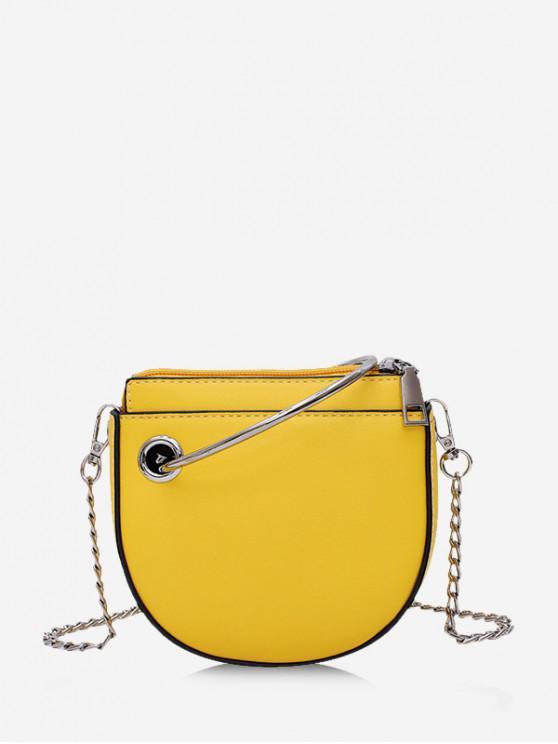 lady Ring Handle Mini Chain Crossbody Bag - BRIGHT YELLOW