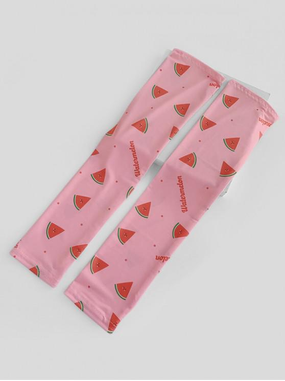 womens Watermelon Print Thumb Hole Mesh Arm Gloves - FLAMINGO PINK