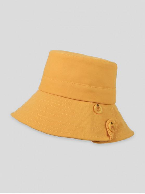 outfits Button Solid Sun Bucket Hat - BRIGHT YELLOW
