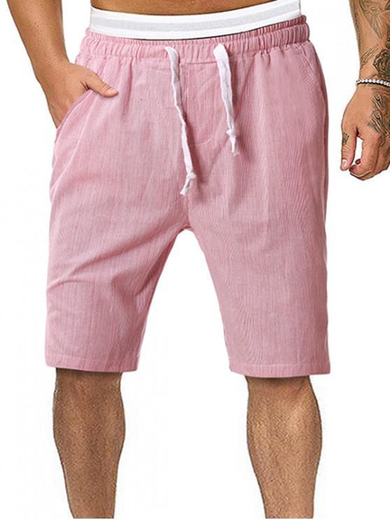 Pinstriped Casual Knee High Shorts - ساكورا بينك XL