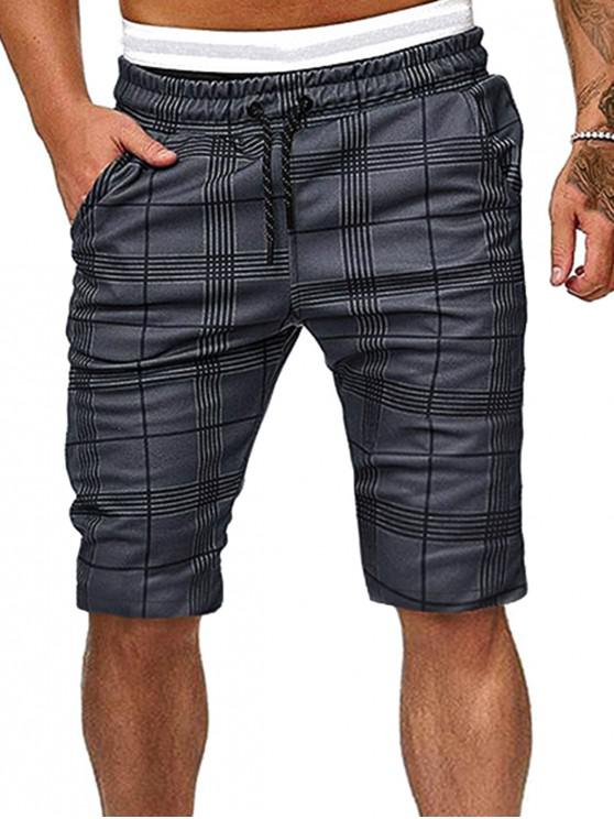 Checked Drawstring Lounge Fifth Shorts - اللون الرمادي S