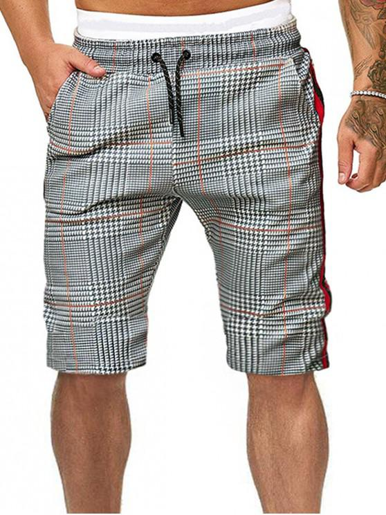 unique Houndstooth Print Drawstring Lounge Knee Length Shorts - MULTI M