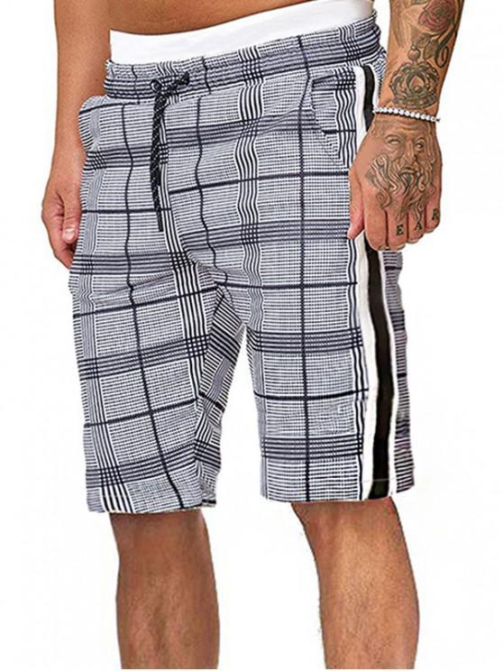 chic Plaid Drawstring Shorts with Ribbons - MULTI 2XL