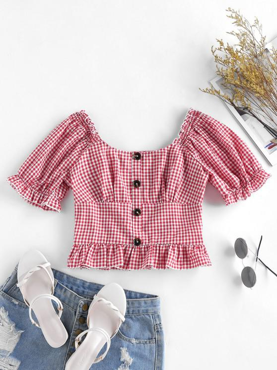 trendy ZAFUL Gingham Ruffle Puff Sleeve Smocked Back Blouse - BEAN RED S