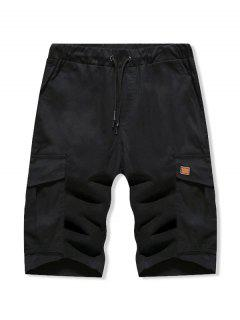 Solid Color Double Pocket Casual Shorts - Black S