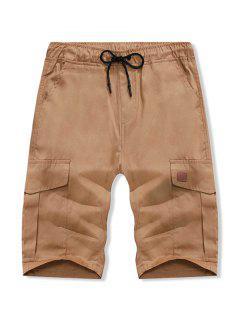 Solid Color Double Pocket Casual Shorts - Brown Sugar M