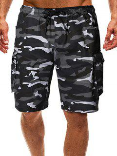 Camo Drawstring Cargo Shorts With Pockets - Acu Camouflage M