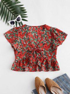 Flower Print Tie Front Peplum Blouse - Red L