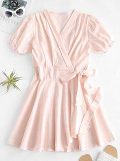 V Neck Puff Sleeve Wrap Dress - Sakura Pink L