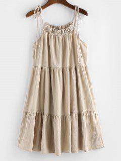 ZAFUL Tie Strap Frilled Tiered Cami Dress - Champagne Xl