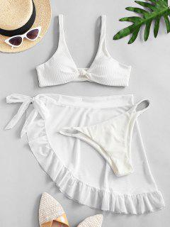 ZAFUL Knot Ribbed Bikini With Ruffle Mesh Sarong - White L