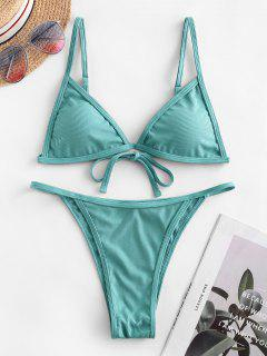 ZAFUL Ribbed Tie String Bikini Swimsuit - Medium Aquamarine S