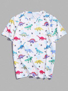 Cartoon Dinosaur Printed Short Sleeves T-shirt - White M