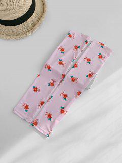 Print Orange Arm Sleeves Gloves - Pink
