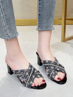 Sandales Perlées Croisées - Noir Eu 40