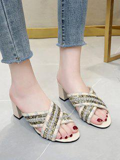 Criss Cross Beads Slides Sandals - Beige Eu 38