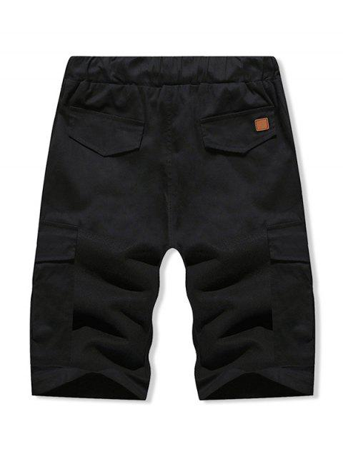 fashion Solid Color Double Pocket Casual Shorts - BLACK L Mobile