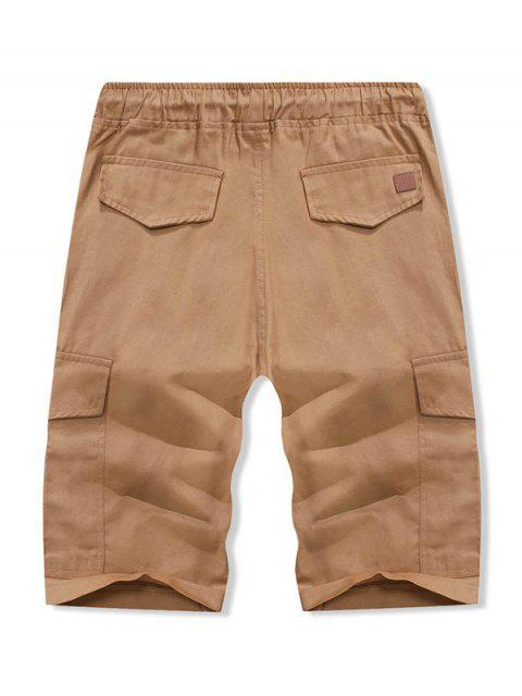 affordable Solid Color Double Pocket Casual Shorts - BROWN SUGAR L Mobile