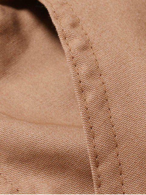 buy Solid Color Double Pocket Casual Shorts - BROWN SUGAR XL Mobile