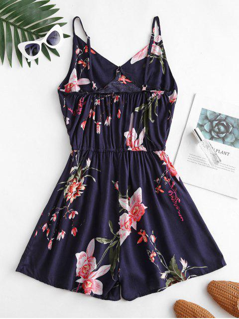 women Flower Print Backless Wide Leg Romper - CADETBLUE S Mobile